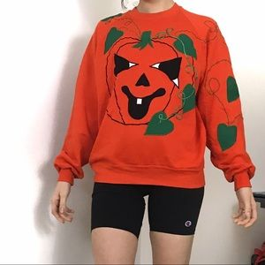 Vintage • Halloween Embroidered Pumpkin Pullover